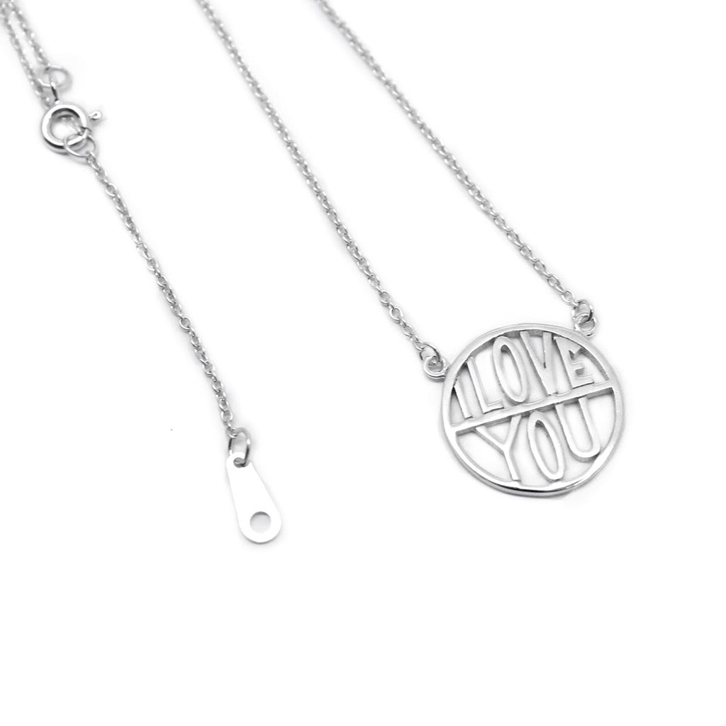"""I Love You"" Sterling Silver Cut-Out Necklace - Allyanna Gifts"