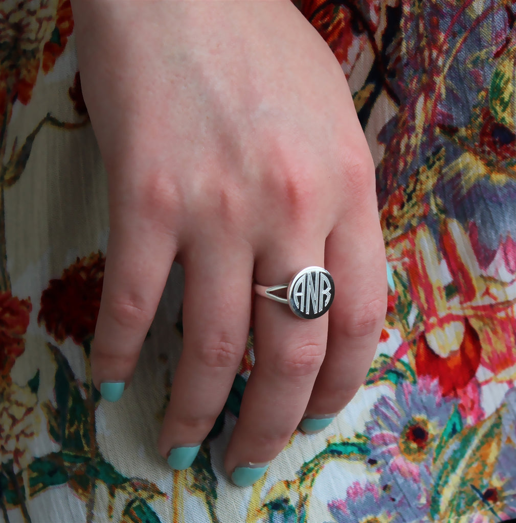 Small Round German Silver Engravable Ring - Allyanna Gifts