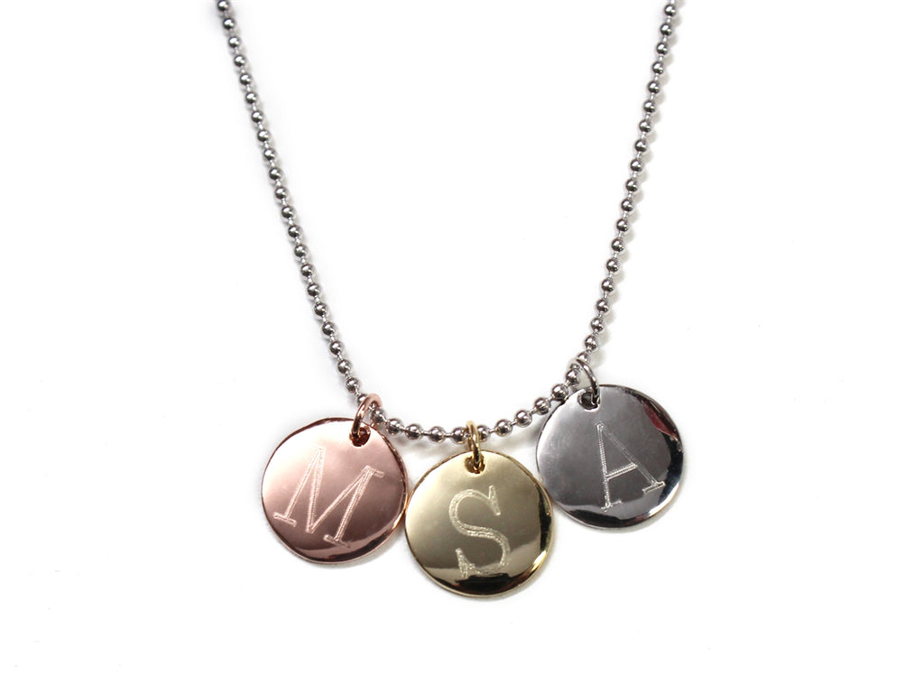 Sterling Silver Triple Disc Monogrammed Necklace