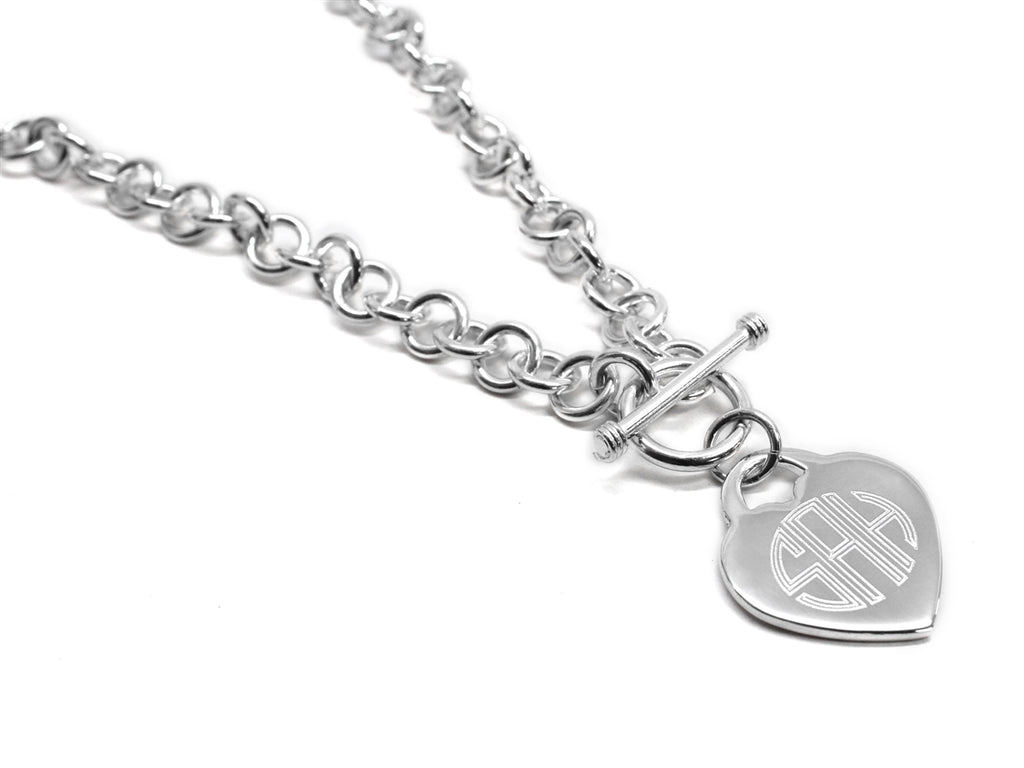 Engravable Heart Disc German Silver Necklace