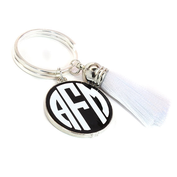 Black with White Silk Tassel Key Chain
