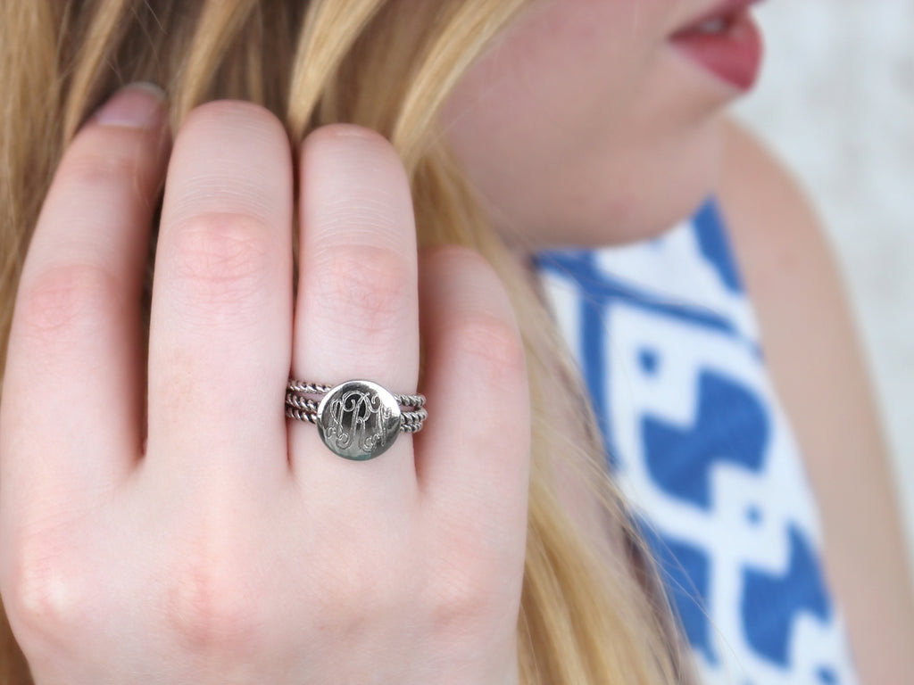 Sterling Silver Engravable Triple Rope Ring
