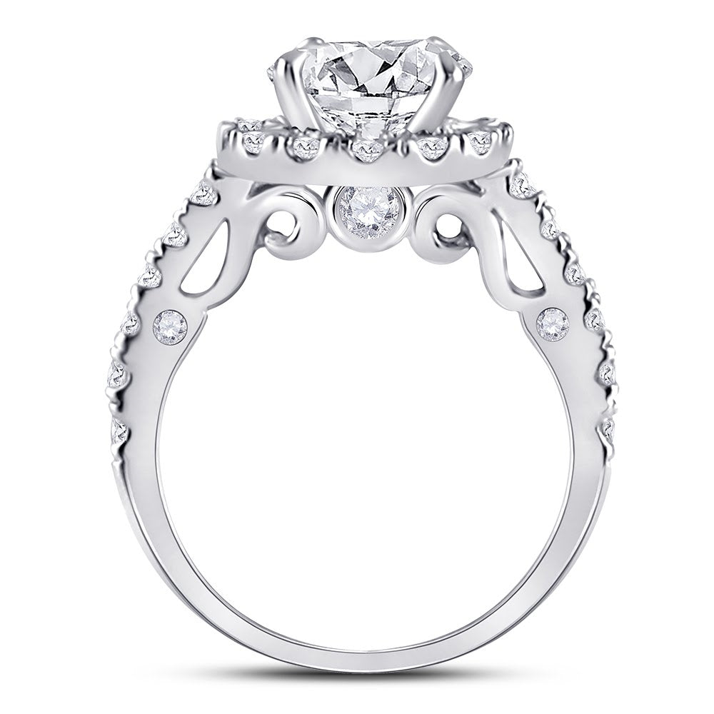 Sterling Silver CZ Halo Cut Ring with Single Band