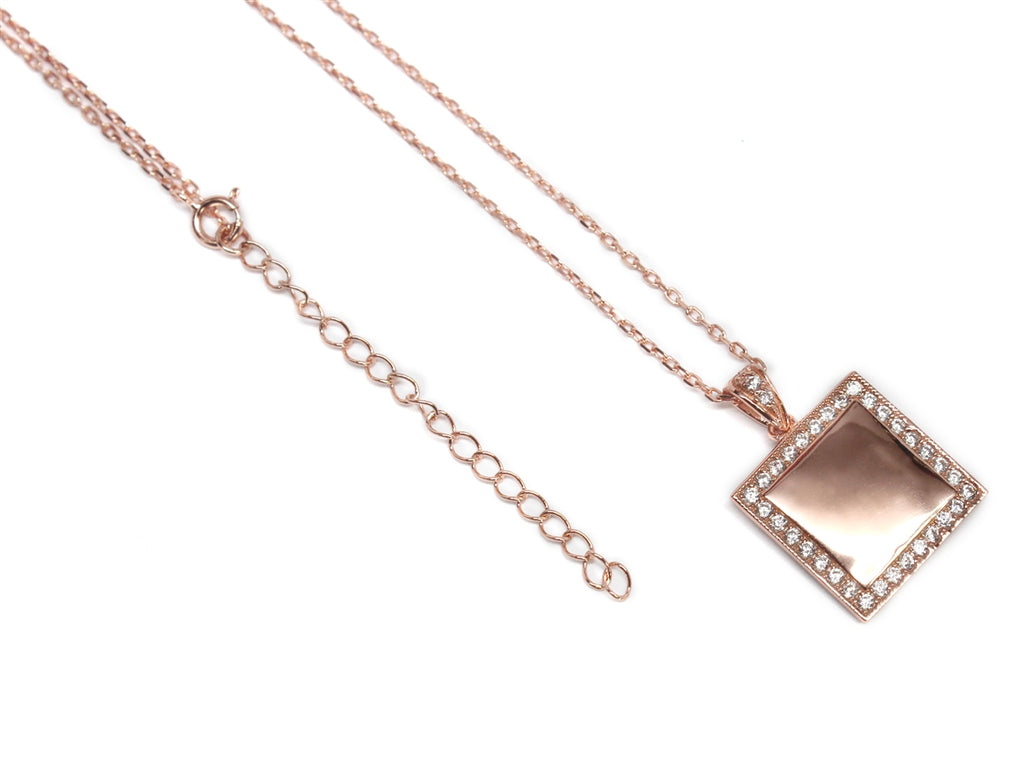 Sterling Silver Square Engravable CZ Necklace with Bell