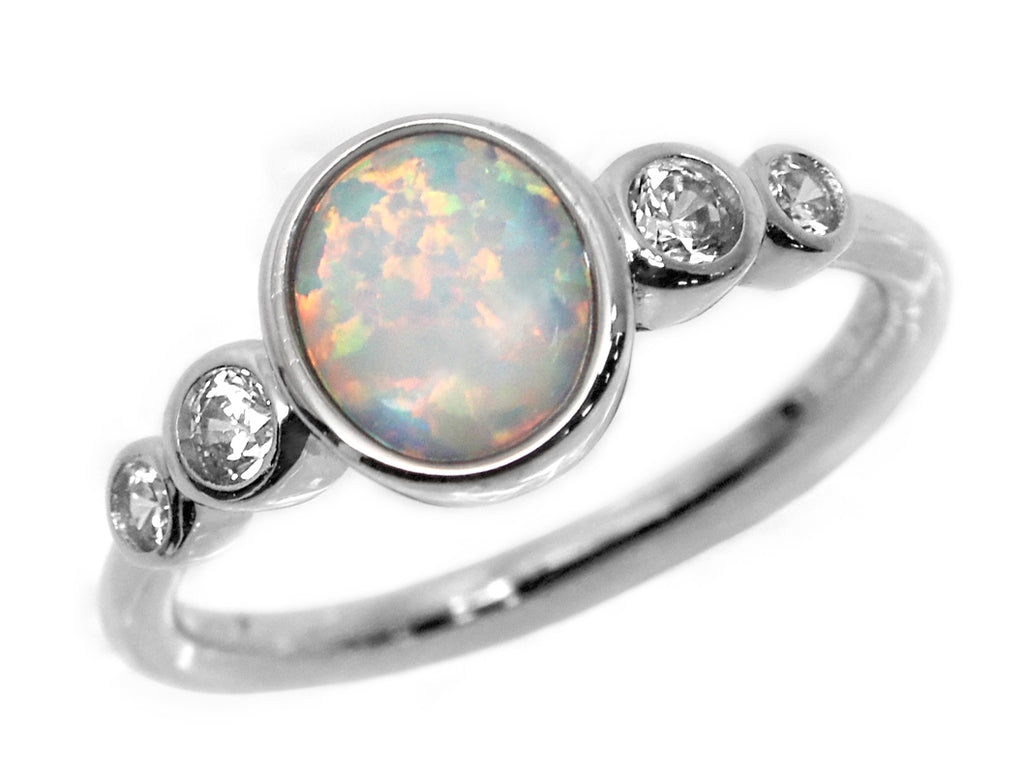 Sterling Silver Opal CZ Ring