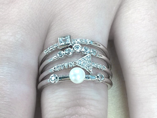 Sterling Silver Quad Band Pearl CZ Ring - Allyanna Gifts