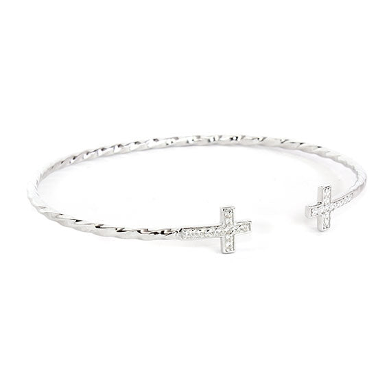 Twist of Fate Sterling Silver Cross Bangle - Allyanna Gifts
