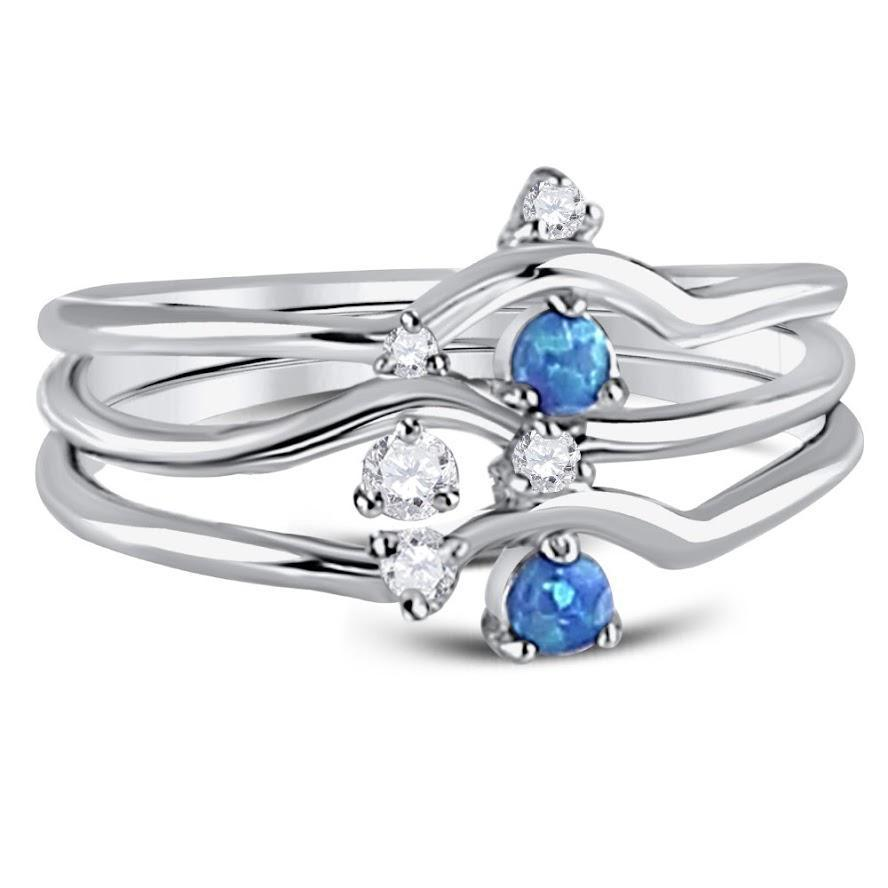 STERLING SILVER 3 BANDS RING WITH SMALL BLUE OPAL AND CLEAR CZ
