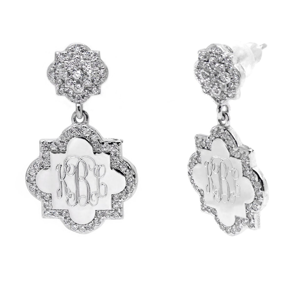 Sterling Silver Engravable Quatrefoil CZ Dangle Earrings