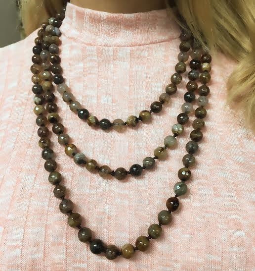 Brown Agate Wrap Beaded Fashion Necklace