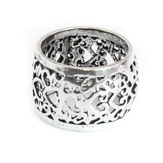 Bohemian Filigree Accent Sterling Silver Ring
