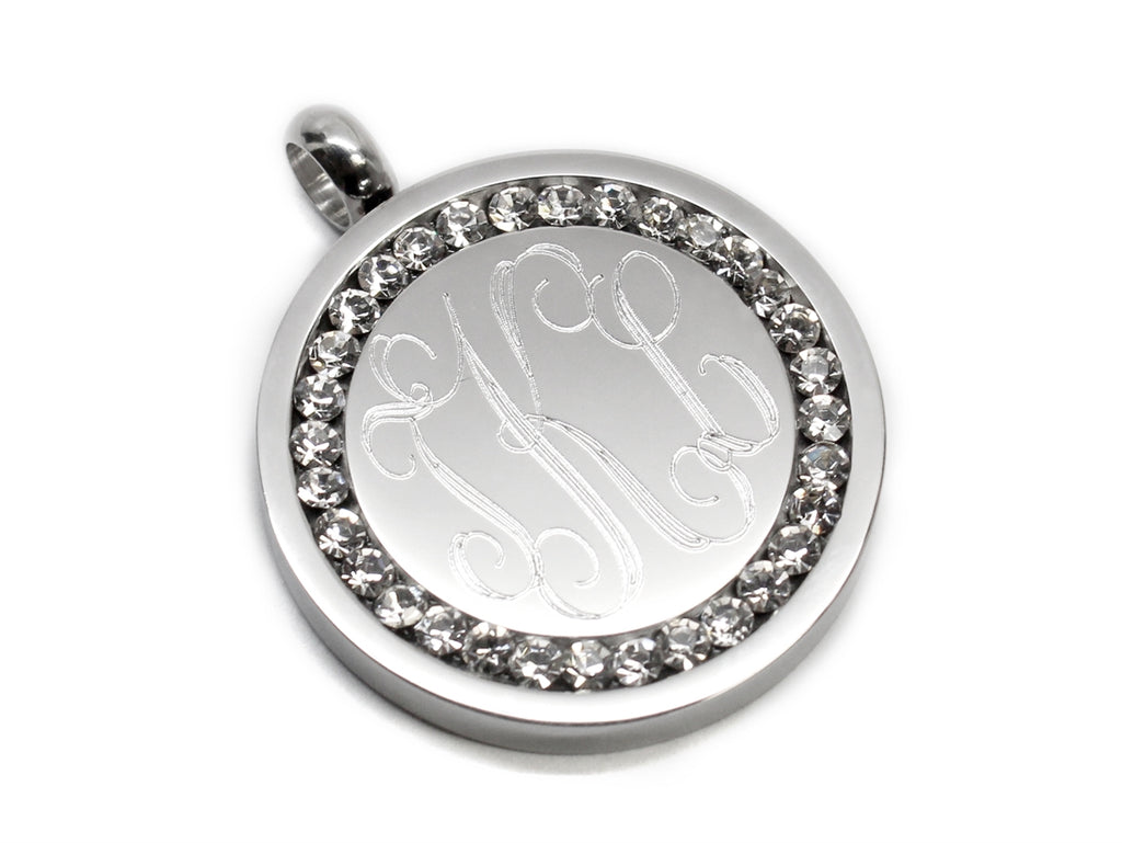 Stainless Steel Engravable Silver CZ Pendant - Allyanna Gifts