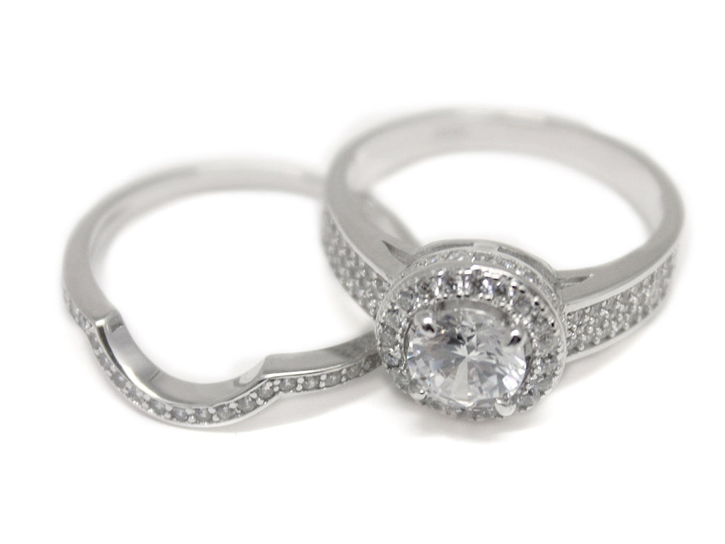 Sterling Silver Fitted Double Band Circle-cut CZ Ring