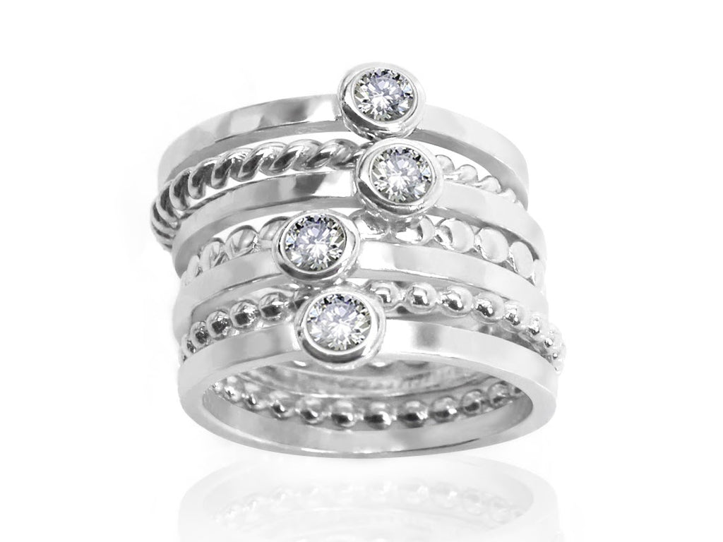 Trendy Sterling Silver Stackable CZ Ring Set