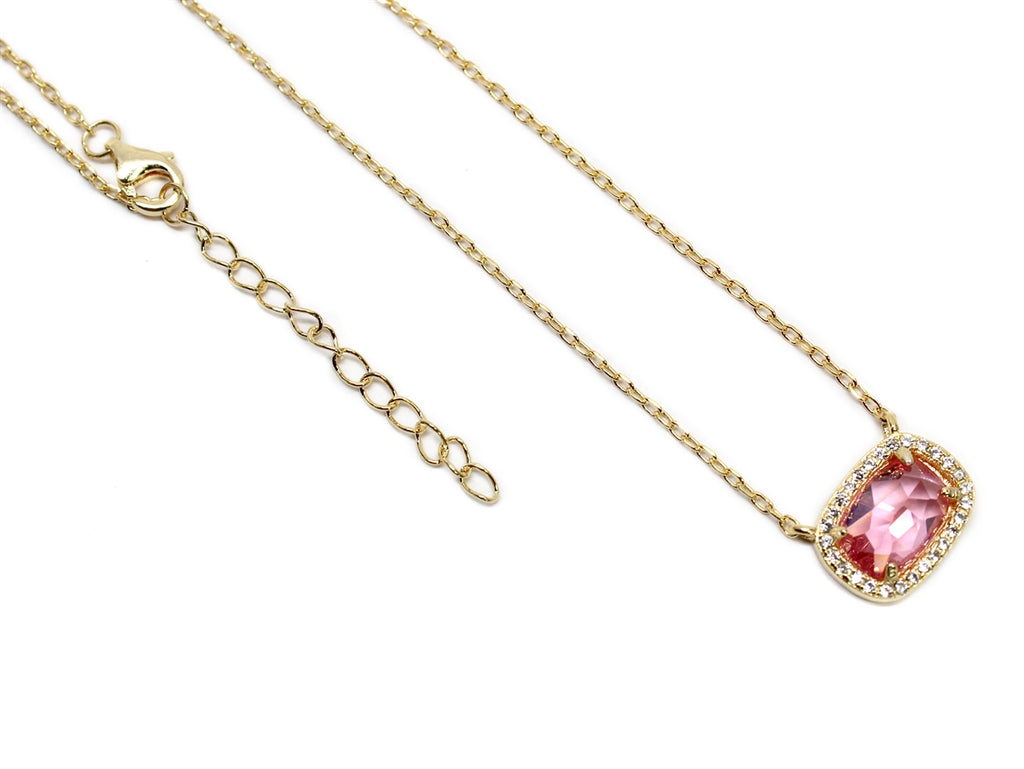 Sterling Silver Pink Gemstone Necklace