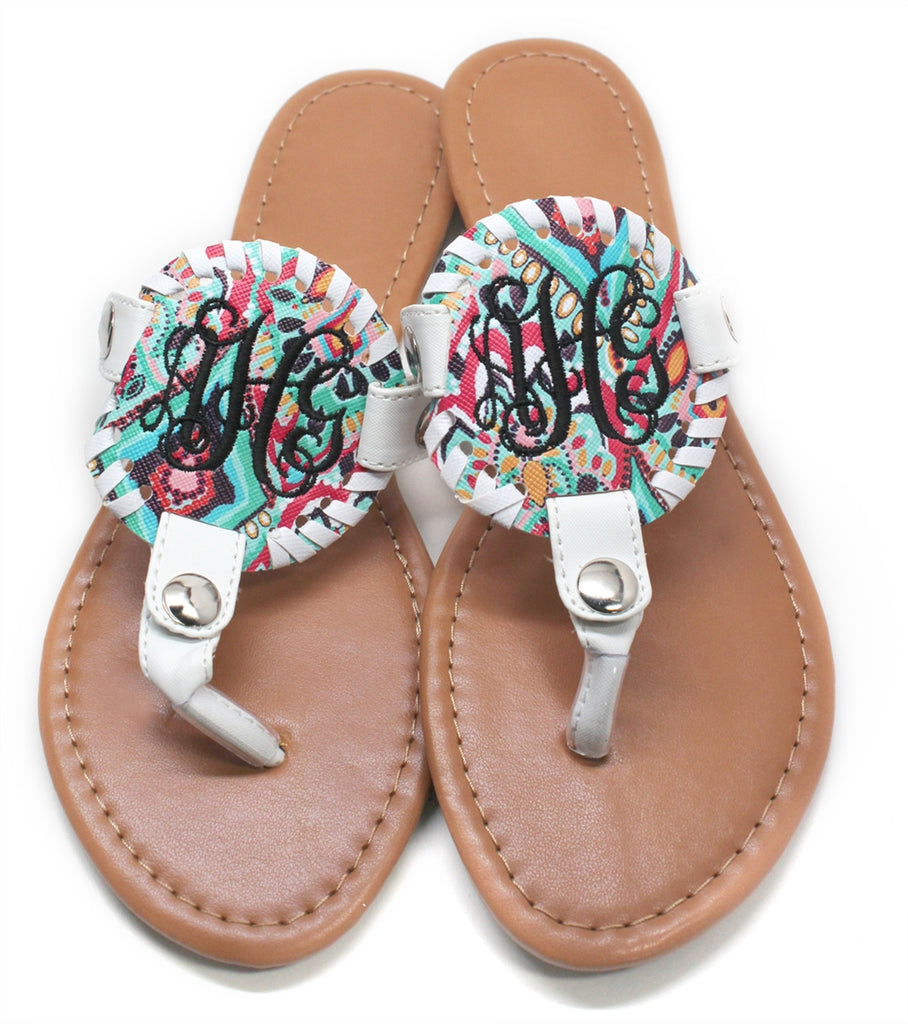 Monogrammed Paisley Print Sandals