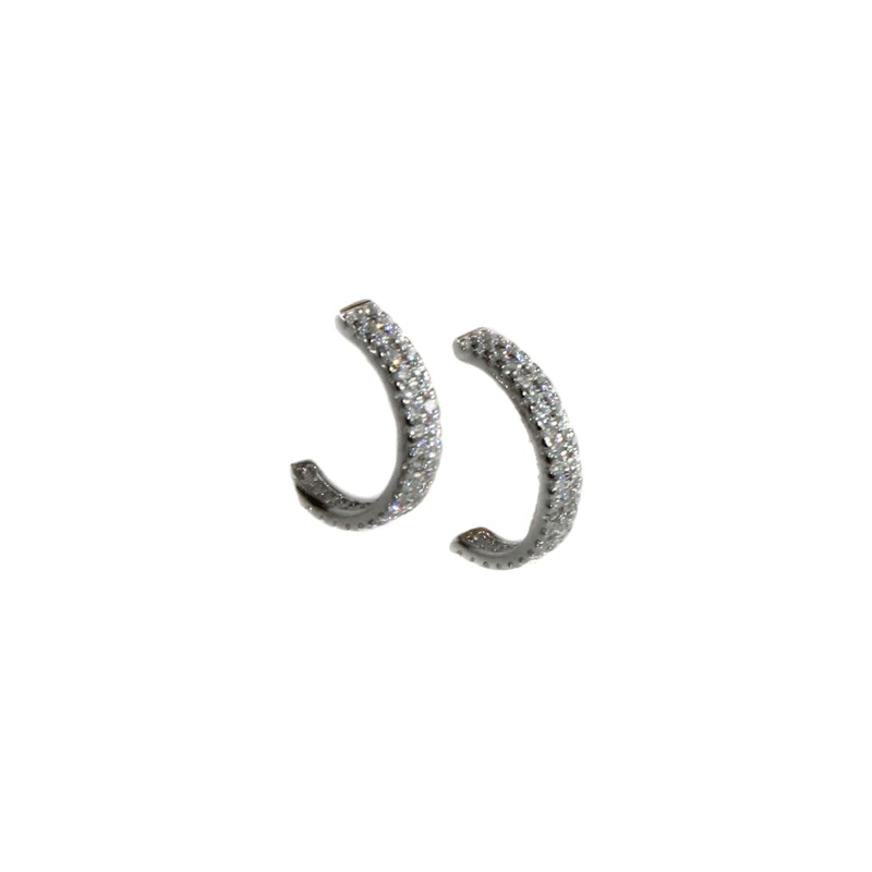 CZ Stone Half Hoop Earrings - Allyanna Gifts