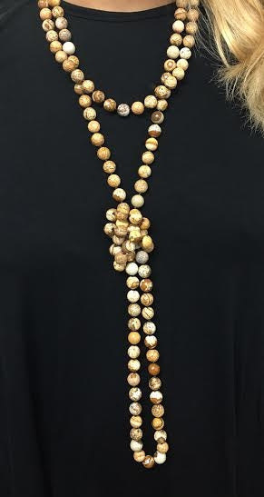 Camel Agate Wrap Beaded Fashion Necklace
