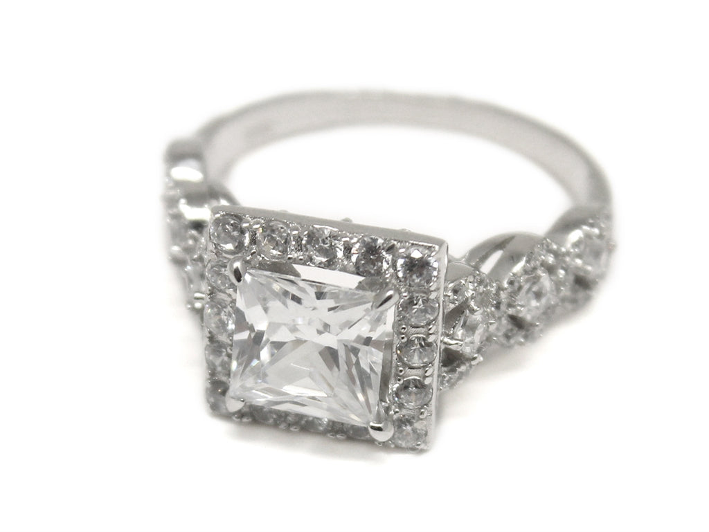 Sterling Silver Square-cut Decorative CZ Ring - Allyanna Gifts