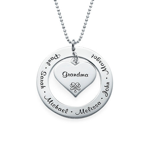 Grandmother & Grandchildren Sterling Silver Necklace