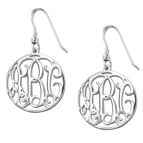 Sterling Silver Encircled Monogram Earrings - Allyanna Gifts