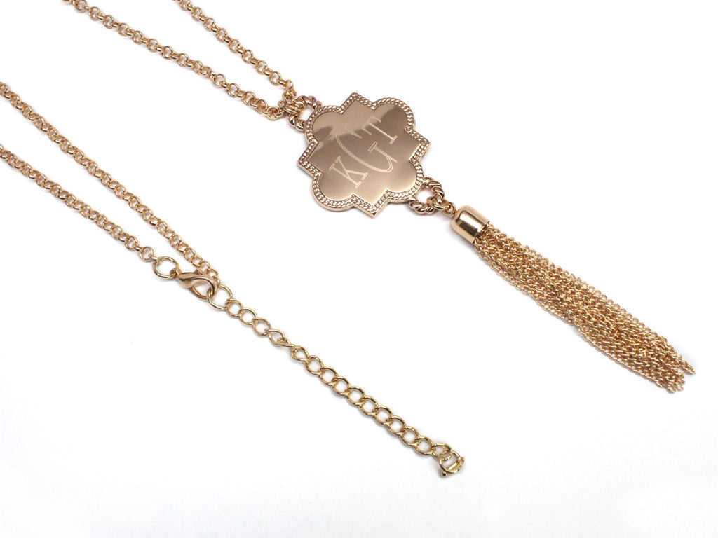 Engravable Quatrefoil Tassel Necklace - Allyanna Gifts