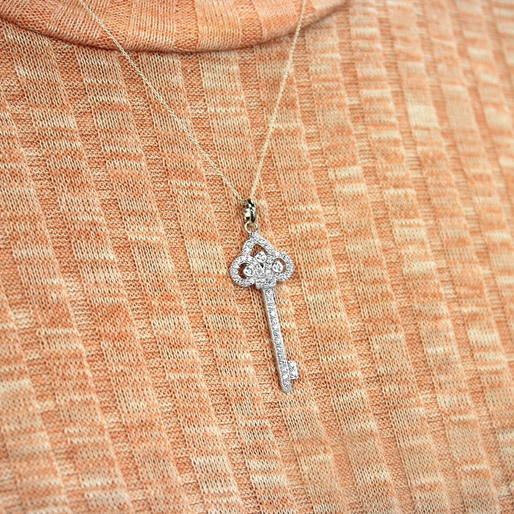 Sterling Silver Princess Key Pendant Necklace - Allyanna Gifts