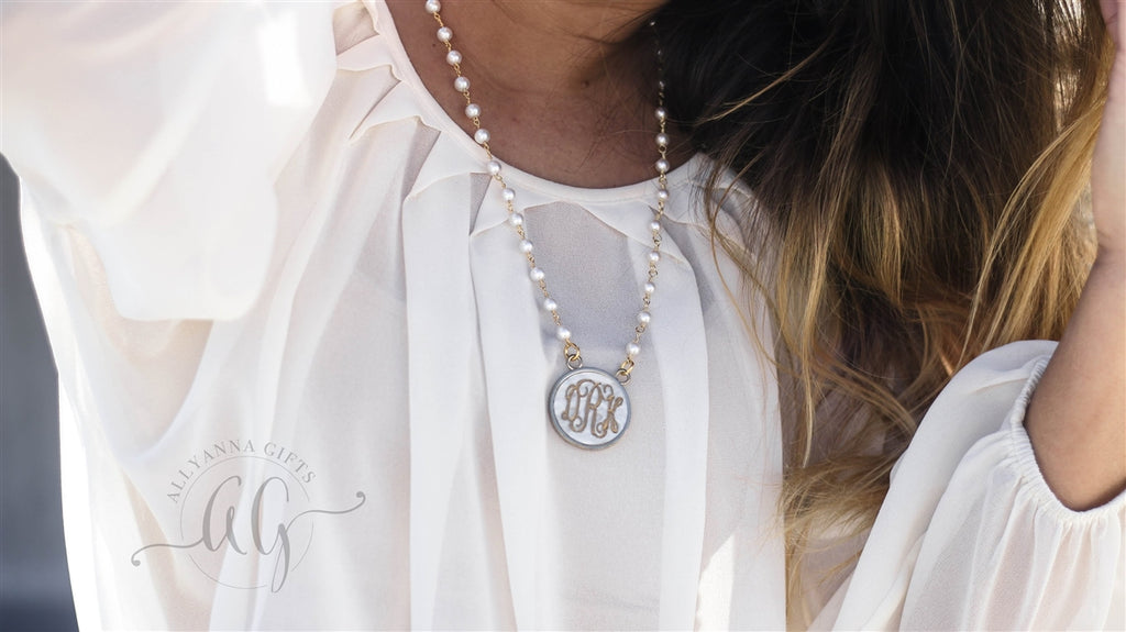 Monogrammed Pearl Acrylic Necklace, Allyanna Gifts