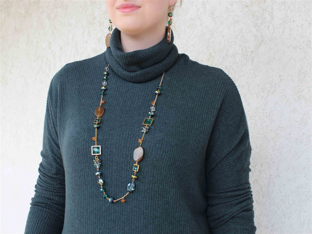 Copper and Emerald Green Glass and Agate Stone Gold Chain Necklace