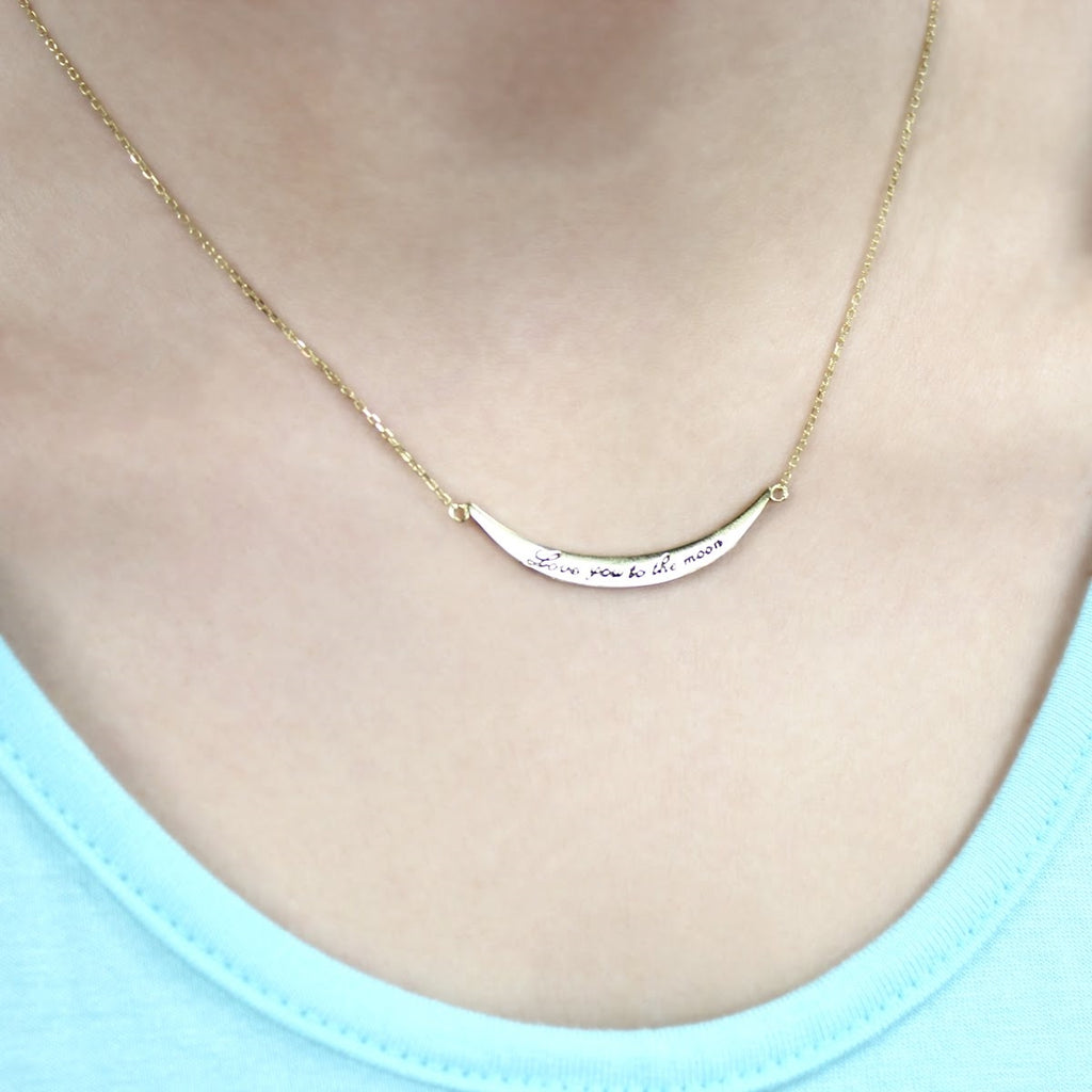 Sterling Silver Love You To The Moon Necklace - Allyanna Gifts