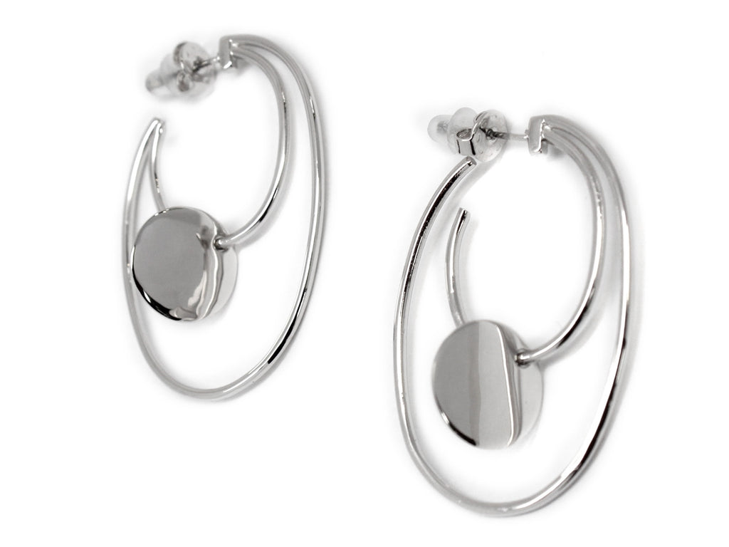 Engraved Disc Double Hoop Earrings