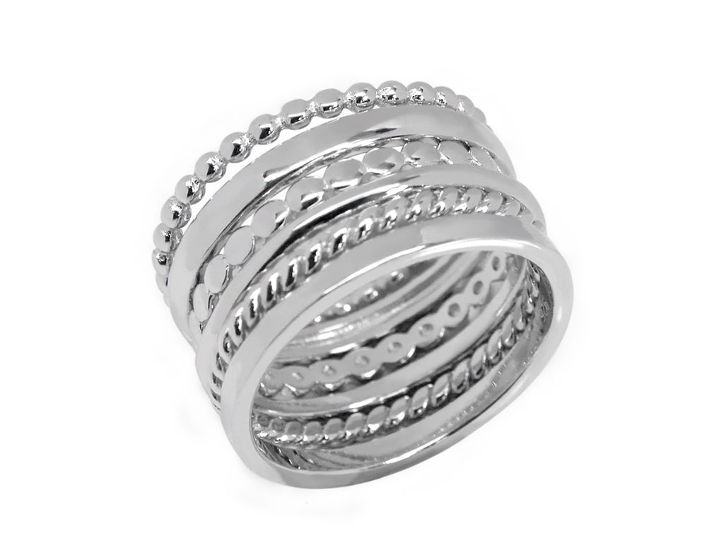 Trendy Sterling Silver Stackable Ring Set