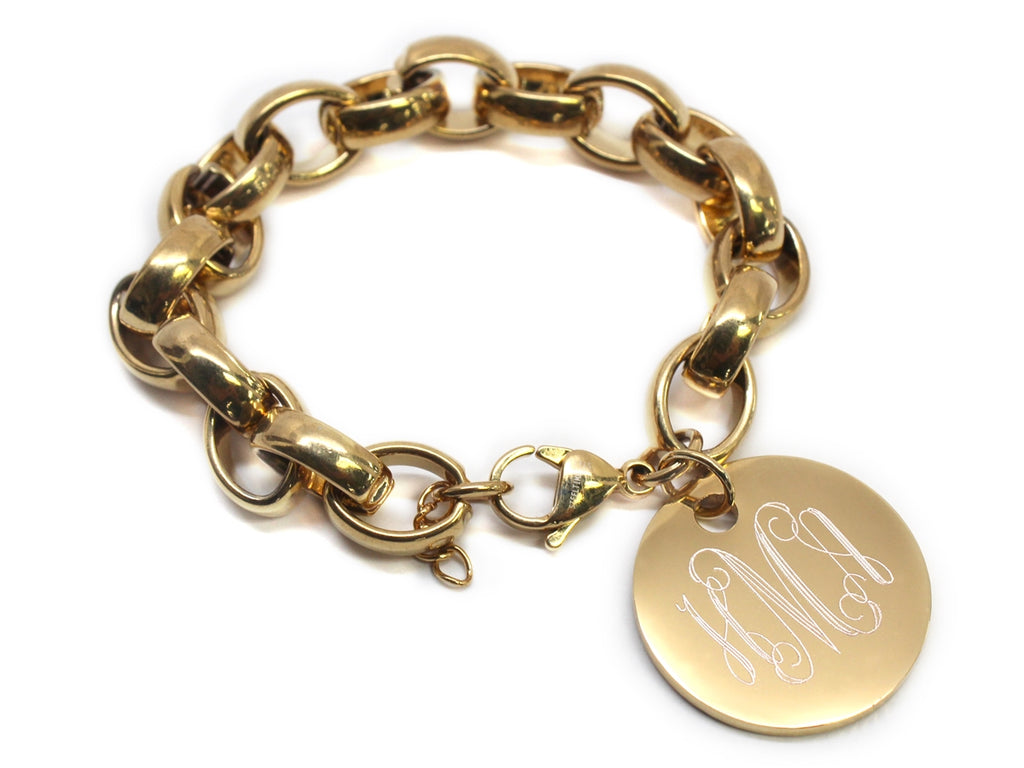 Engraved Stainless Steel Link Bracelet with Monogrammed Disc - Allyanna Gifts