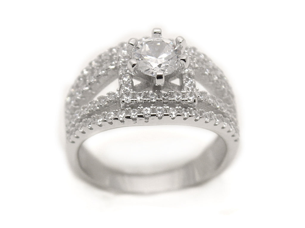 Sterling Silver Split Band Circle-cut CZ Ring with Square Setting