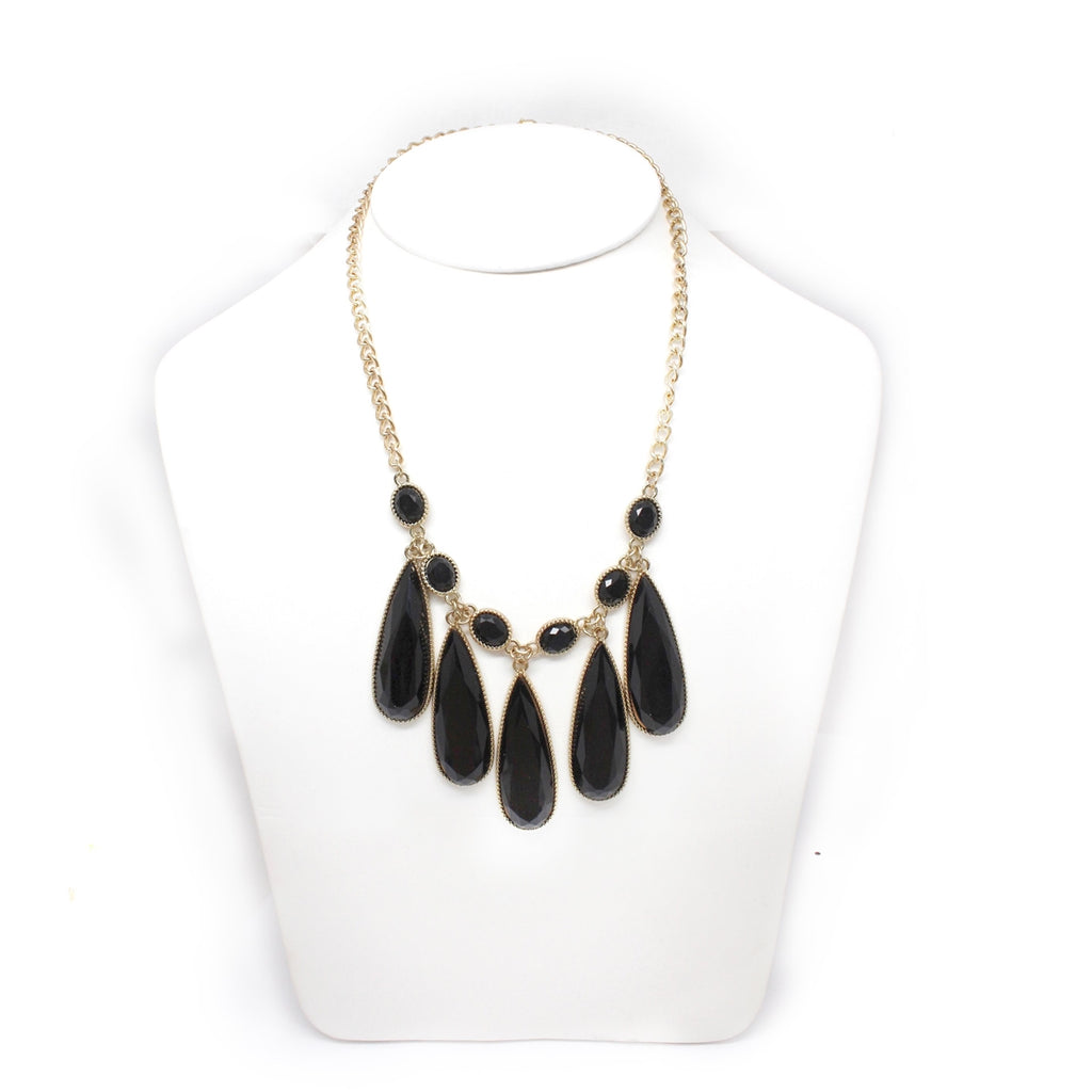 Black Teardrop Statement Necklace