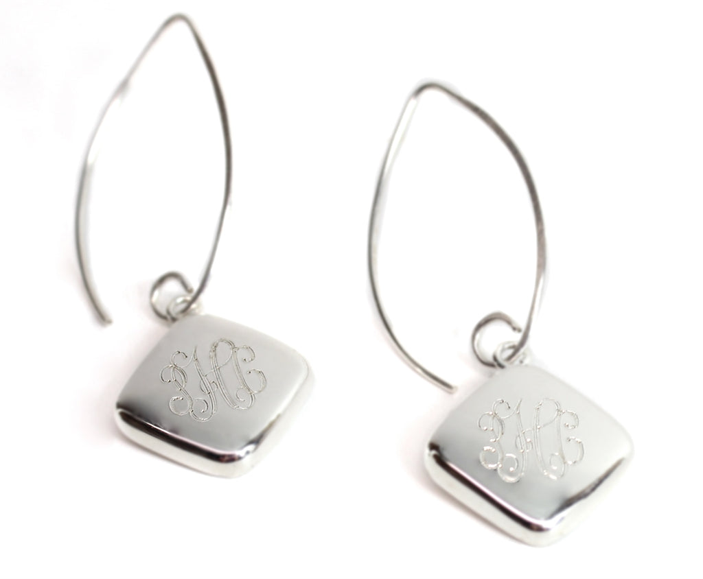 Diamond Wire Drop Monogram Earrings - Allyanna Gifts