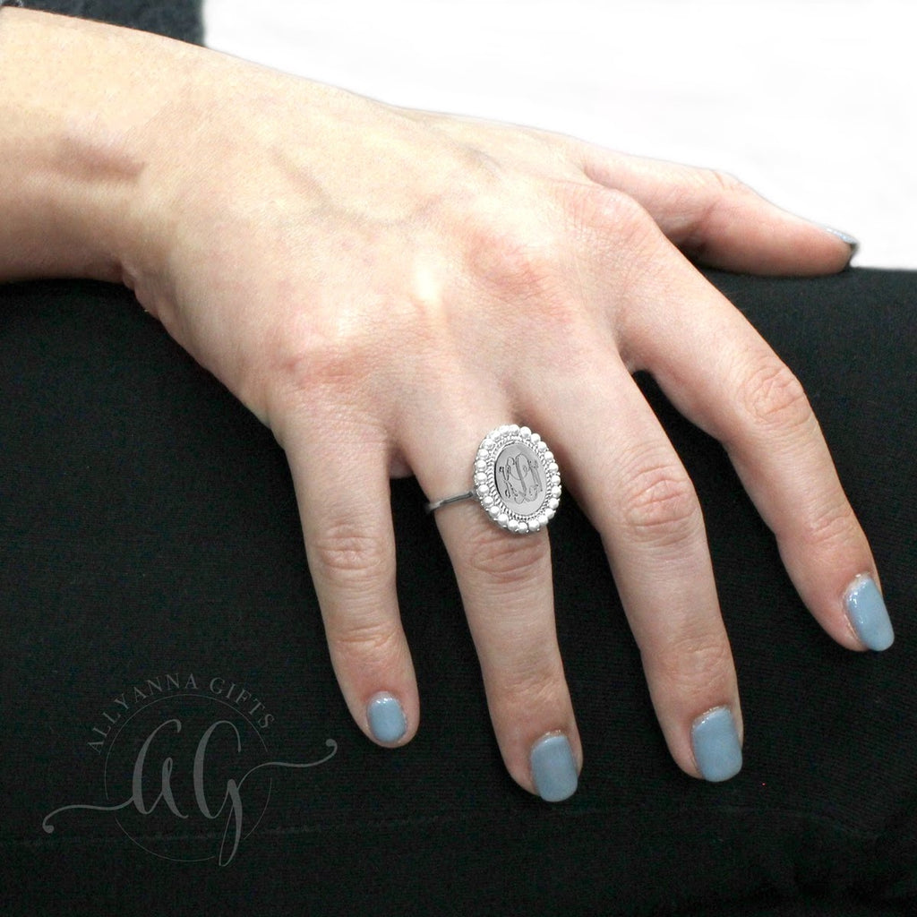 Sterling Silver Engravable Pearl Oval Ring