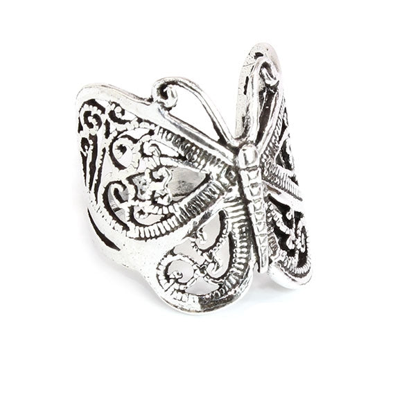 Sterling Silver Butterfly Bohemian Accent Ring - Allyanna Gifts