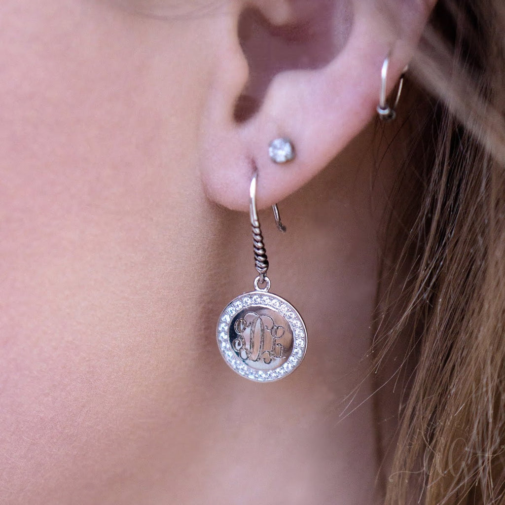 Engravable Sterling Silver Round CZ Drop Earrings