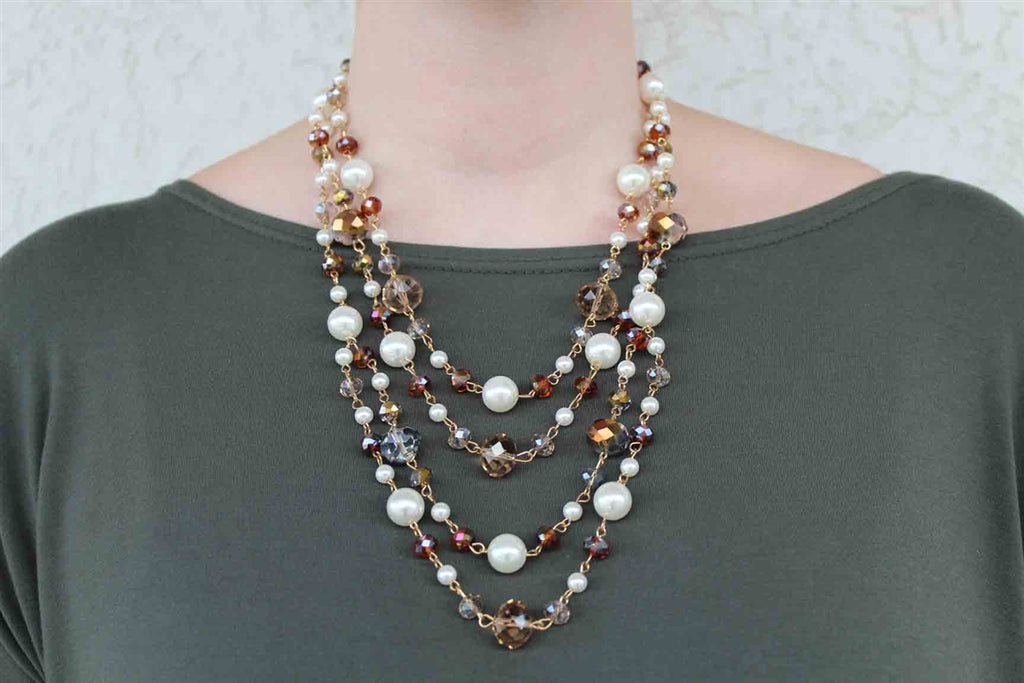 White and Copper Beaded Necklace