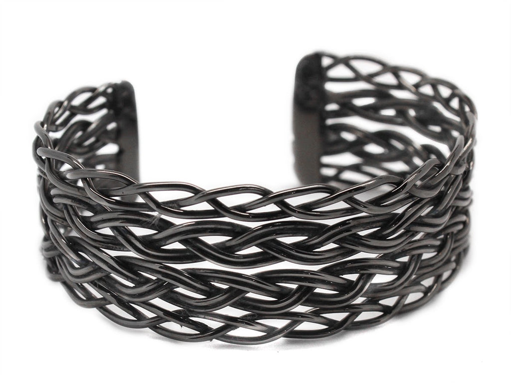 German Silver Layered Woven Cuff Bracelet