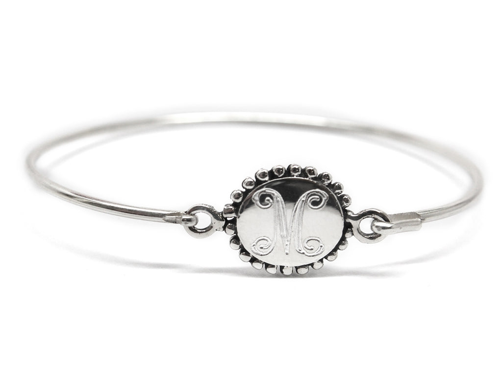 Sterling Silver Beaded Circle Baby Bangle - Allyanna Gifts