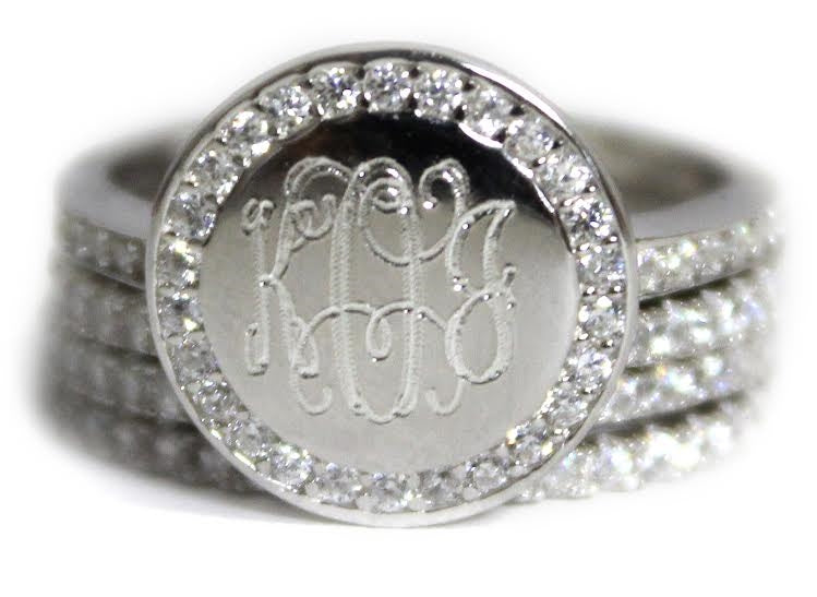 Monogrammed Stackable Sterling Silver Cz Rings