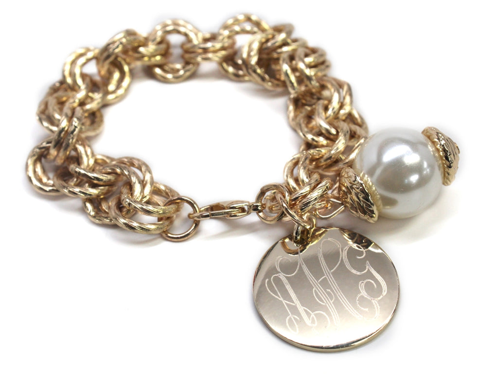 Double Chain Monogrammed Pearl Link Bracelet