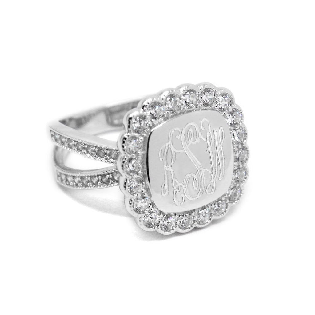Sterling Silver Engravable Square CZ Ring