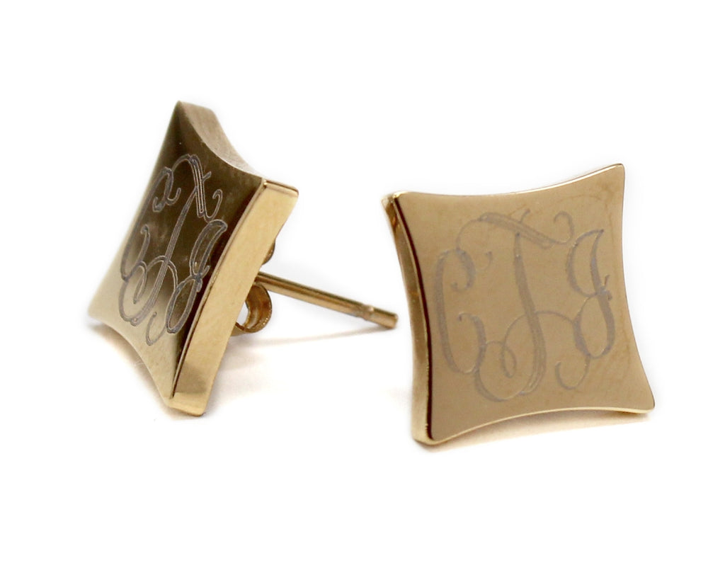 Stainless Steel Monogram Square Earrings