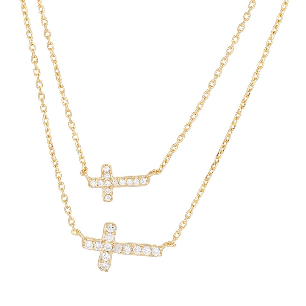 Double Cross Sterling Silver Necklace