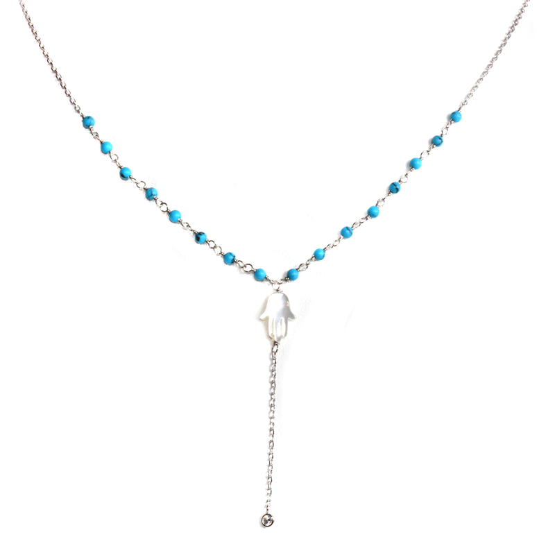 Blue Bead Hamsa Necklace