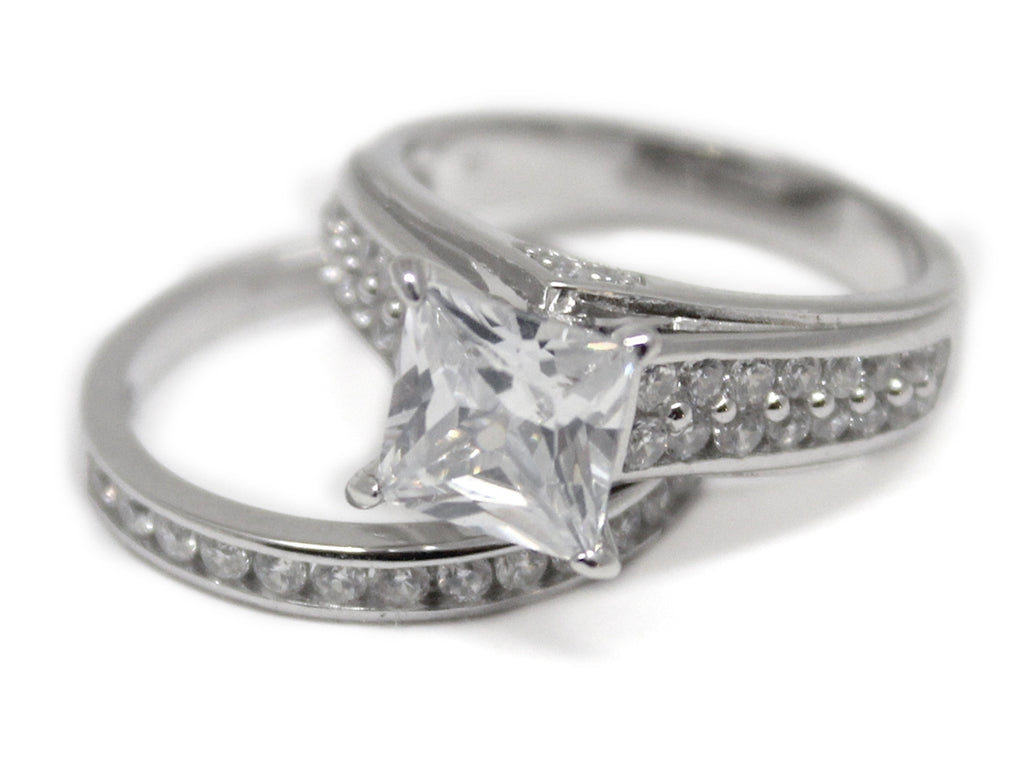Sterling Silver Elevated Square-cut Ring with Double CZ Band