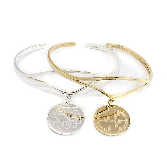 Elegant Curved Wire Engraved Monogram Bangle
